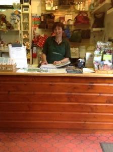 Helen at shop counter