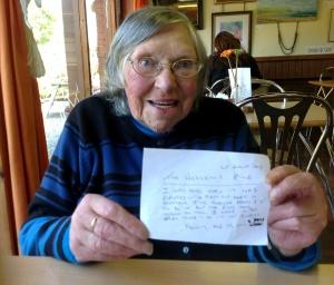 Nancy McGuffog with her poem