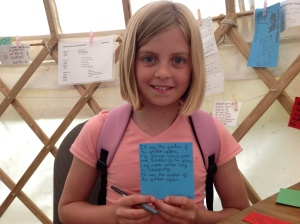 Kate and the poem she grew from the Seed Poem Tray