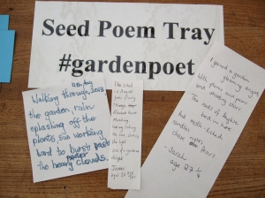 Some poems made from the Seed Poem Tray today.